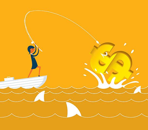 angeln geld - haifischköder stock-grafiken, -clipart, -cartoons und -symbole