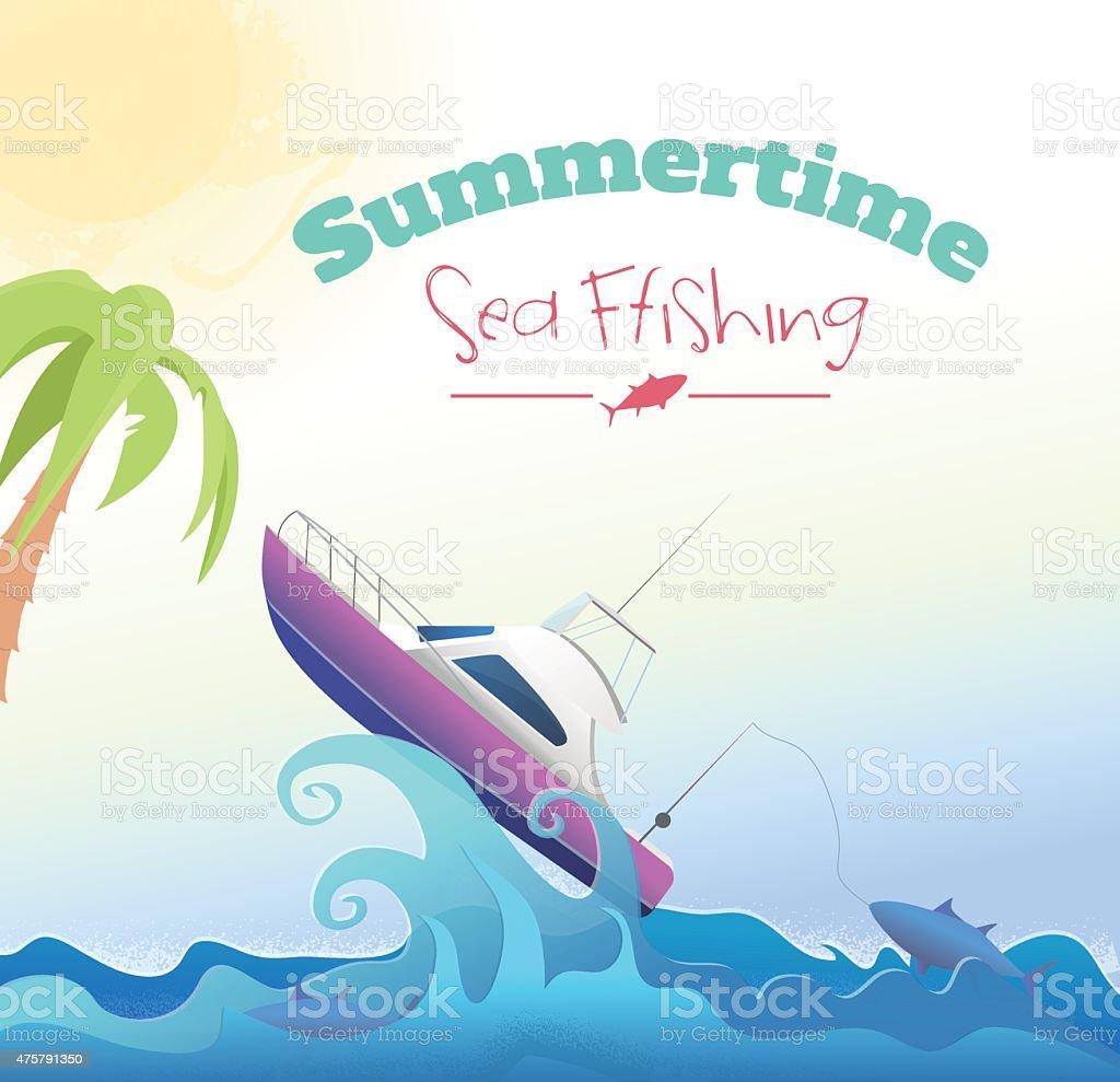 Fishing motorboat vector art illustration