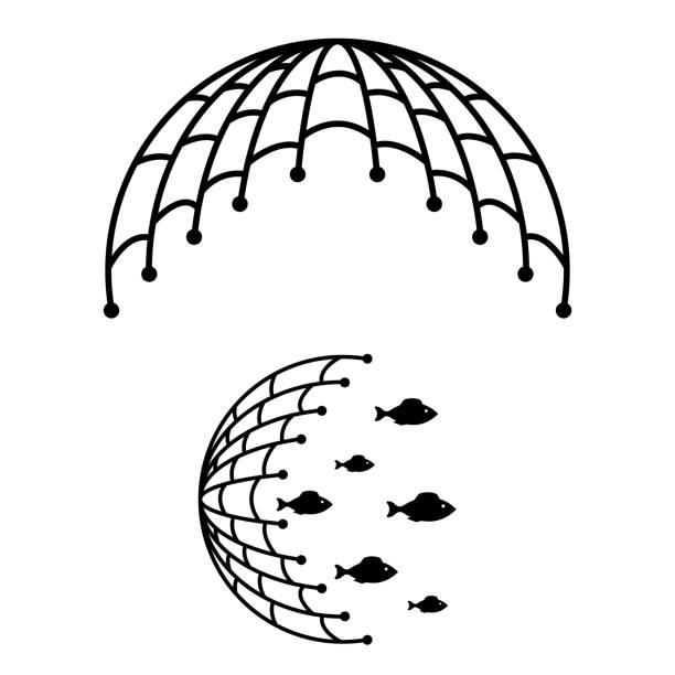ilustrações de stock, clip art, desenhos animados e ícones de fishing net icon isolated on white background - aquacultura