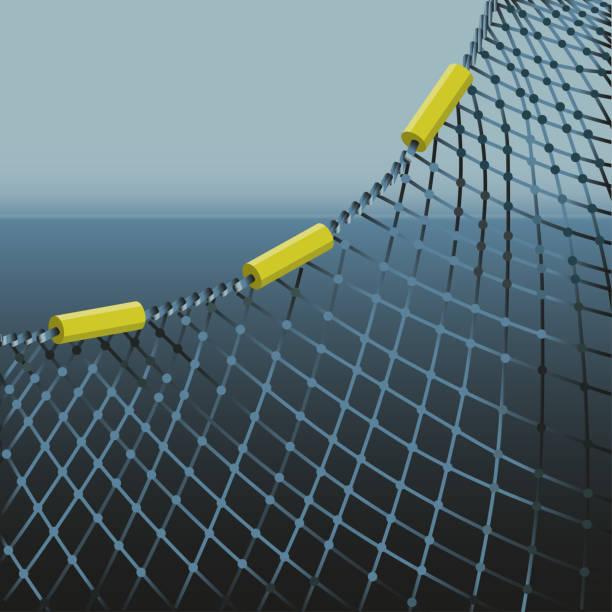 Fishing net on sea background Fishing net on sea background. Vector illustration seine river stock illustrations