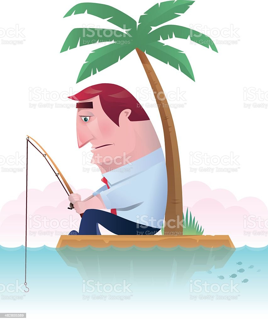 fishing on island vector art illustration