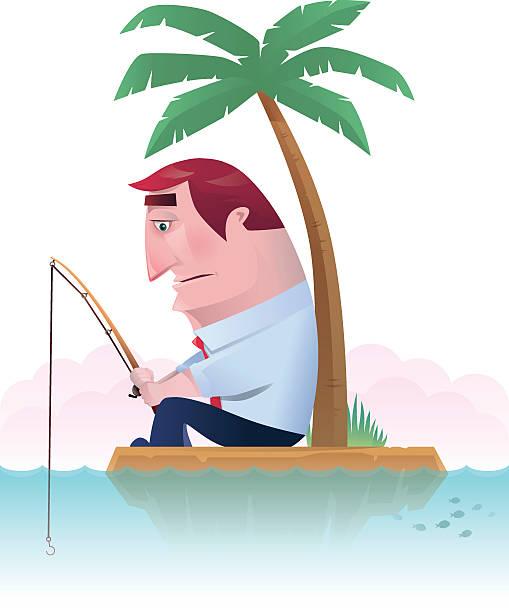 fishing on island vector art illustration