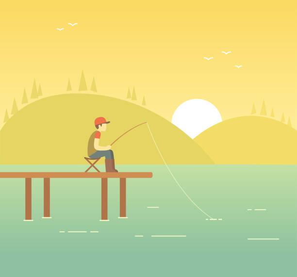 angeln am see abbildung - angelurlaub stock-grafiken, -clipart, -cartoons und -symbole