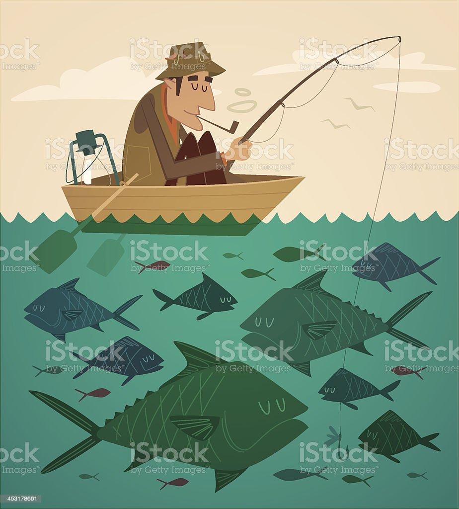 Fishing on the boat. Vector retro styled illustration. vector art illustration