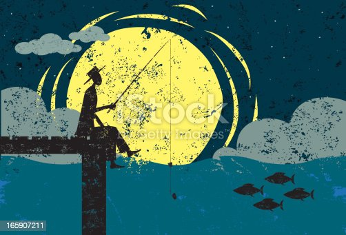 A man fishing on the end of a dock in the moonlight. The man, dock and fish are on a separate layer from the background.