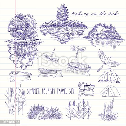 Fishing on the lake background with boat, trees, tent and  bridge. Camping, summer vacation outdoor, adventure travel. Hand drawn vector illustration