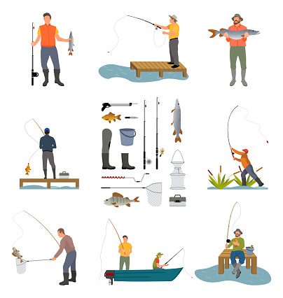 Fishing people and items related to men hobby. Posters set with rod, landing net and rubbers high waders. Fishers on floating boat vector illustration
