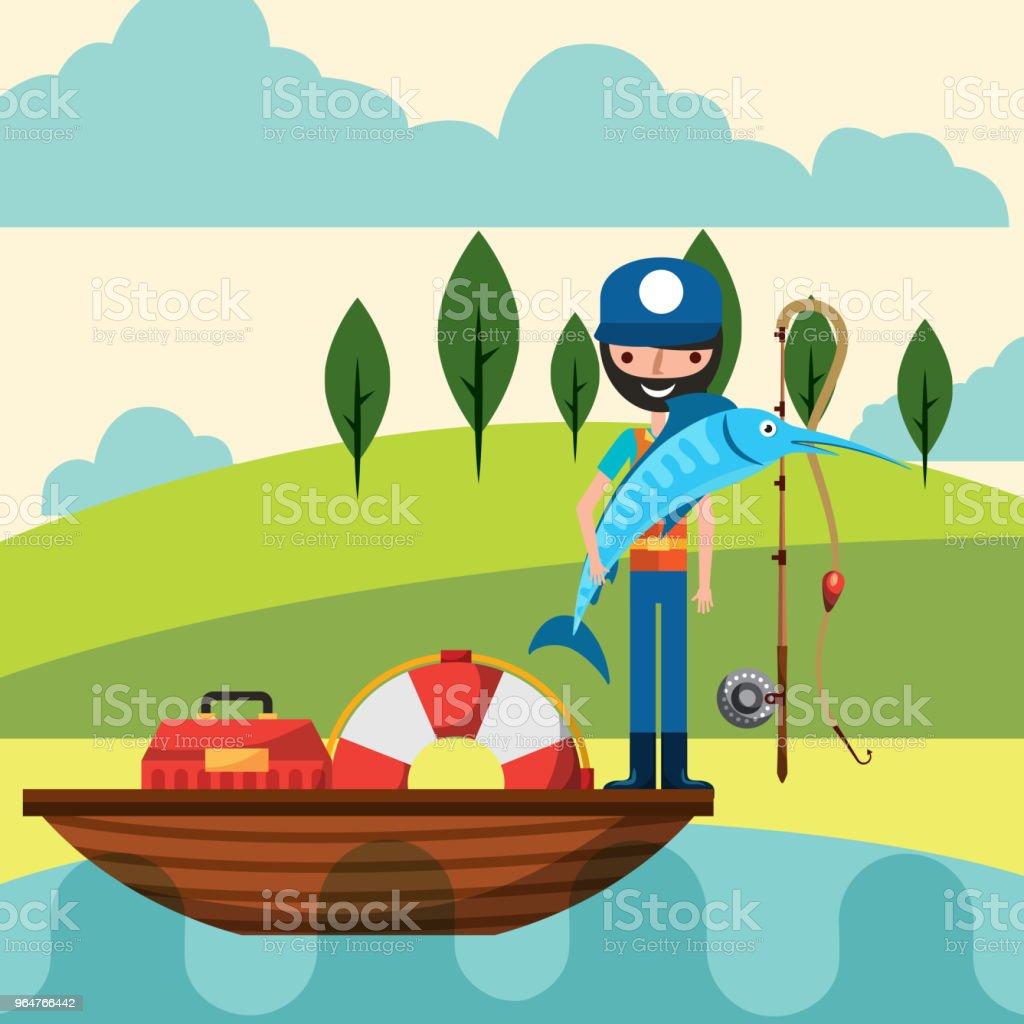 fishing people cartoon vector art illustration
