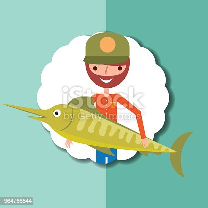 Fishing People Cartoon Stock Vector Art & More Images of Adult 964766844