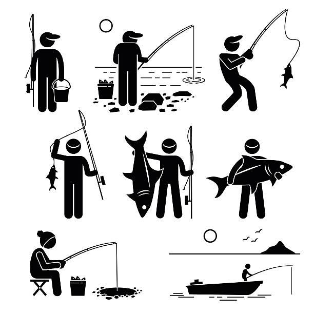 piktogram cliparts połowów - rybactwo stock illustrations