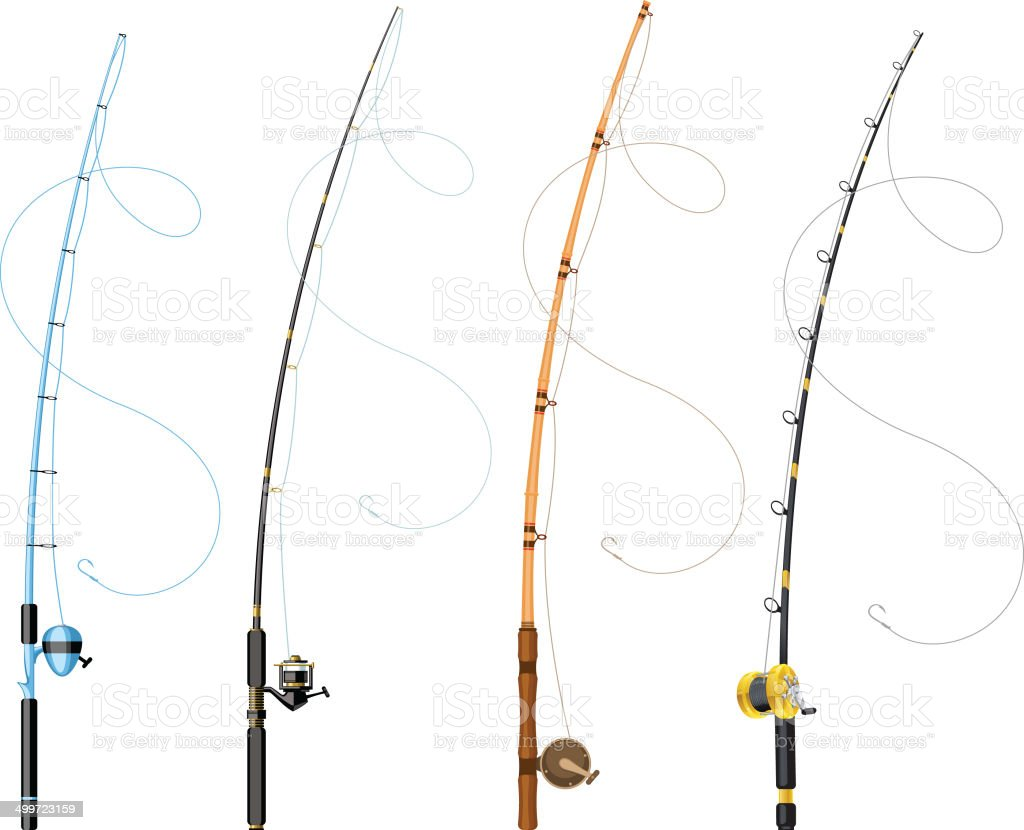 fishing poles vector art illustration