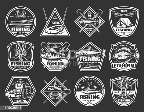 Fishing icons of fisher camp and fish sport catch. Vector isolated fisherman adventure badges of hook, rod and boat paddles, flounder and perch, salmon or marlin and sea bass fish