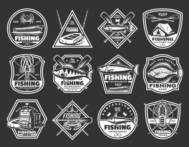 port rybacki i ikony wektorów rybackich - rybactwo stock illustrations