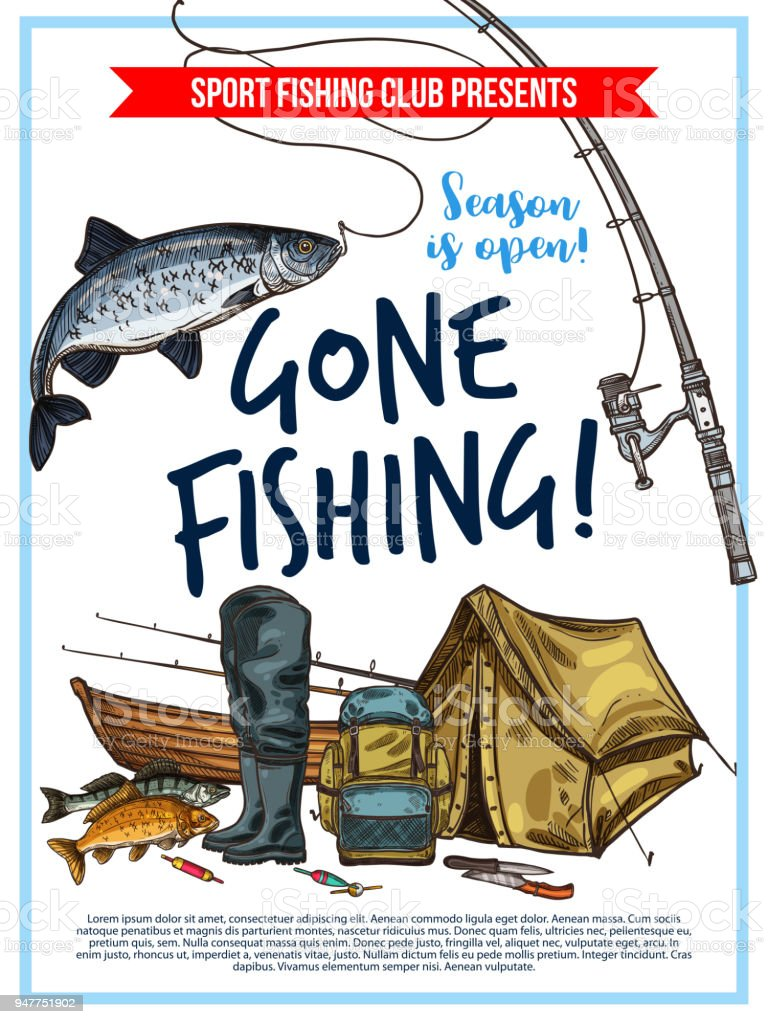 Fishing poster with fish and fisherman equipment vector art illustration