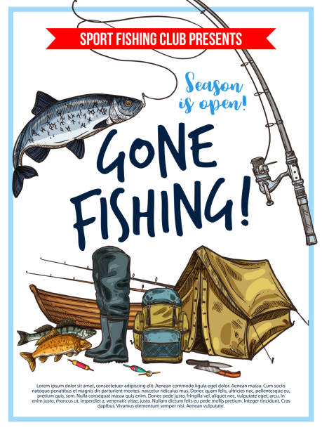 fishing poster with fish and fisherman equipment - fishing stock illustrations
