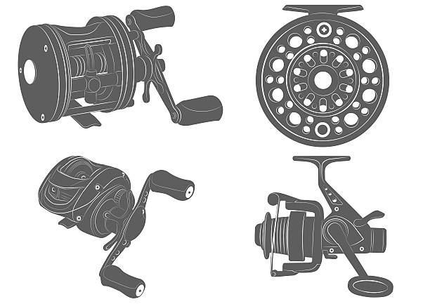 fishing reel icon four highly detailed fishing reel icons fishing reel stock illustrations