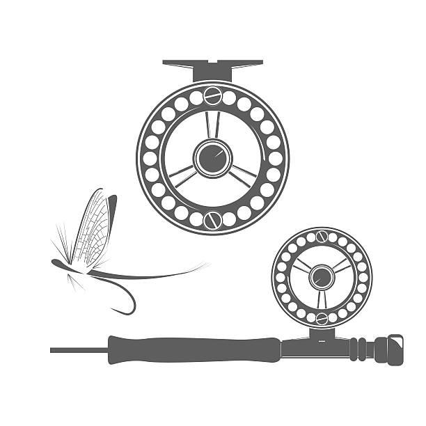 Fishing reel icons Fishing reel and fly icon on the white background rod stock illustrations