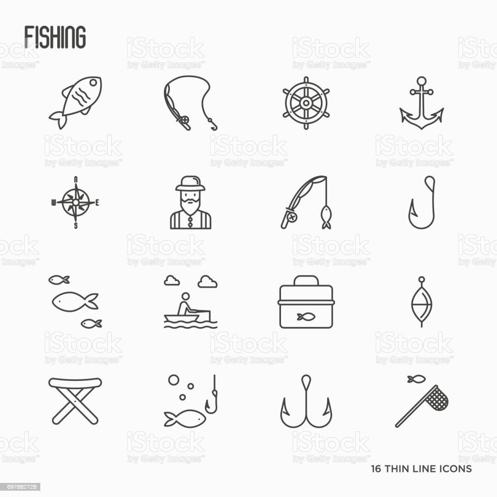 Fishing related thin line icons: fisherman, hooks, boat, rod. Vector illustration. vector art illustration