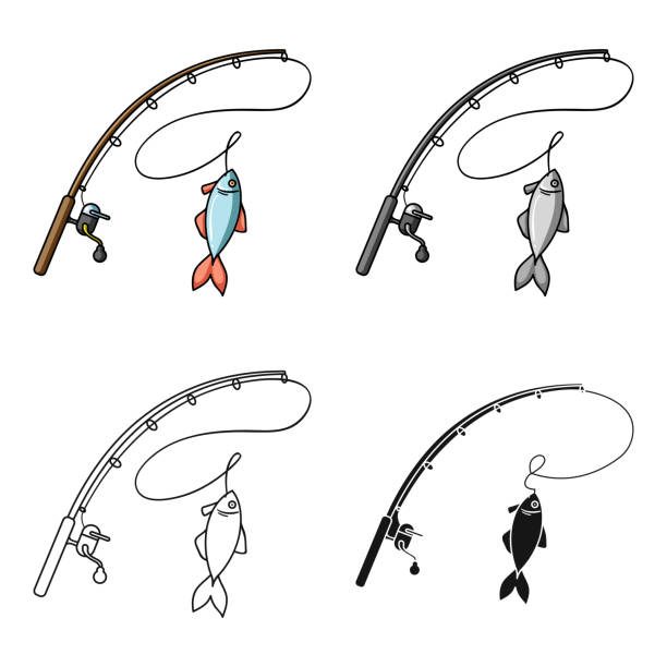 Fishing rod and fish icon in cartoon style isolated on white background. Fishing symbol stock vector web illustration. - illustrazione arte vettoriale
