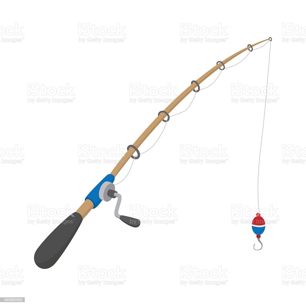 Fishing rod cartoon icon vector art illustration