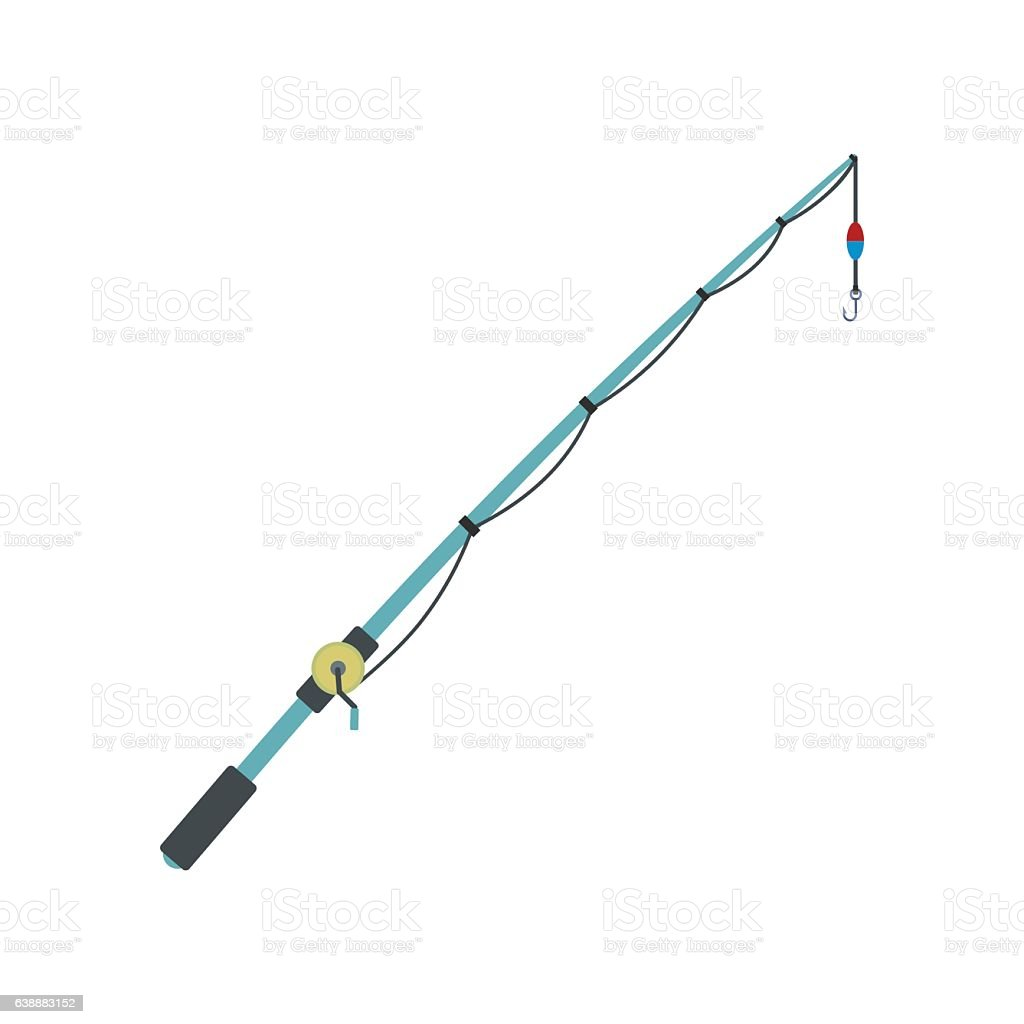 Fishing rod flat icon vector art illustration