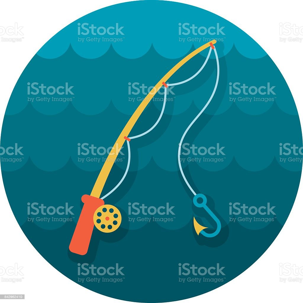 Fishing Rod icon. Summer. Vacation vector art illustration