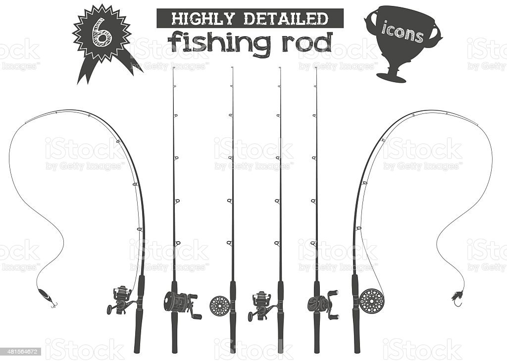 fishing rod icons vector art illustration