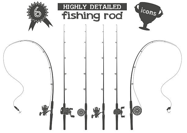fishing rod icons Six highly detailed fishing rod icons with reels and two baits  freshwater fishing stock illustrations