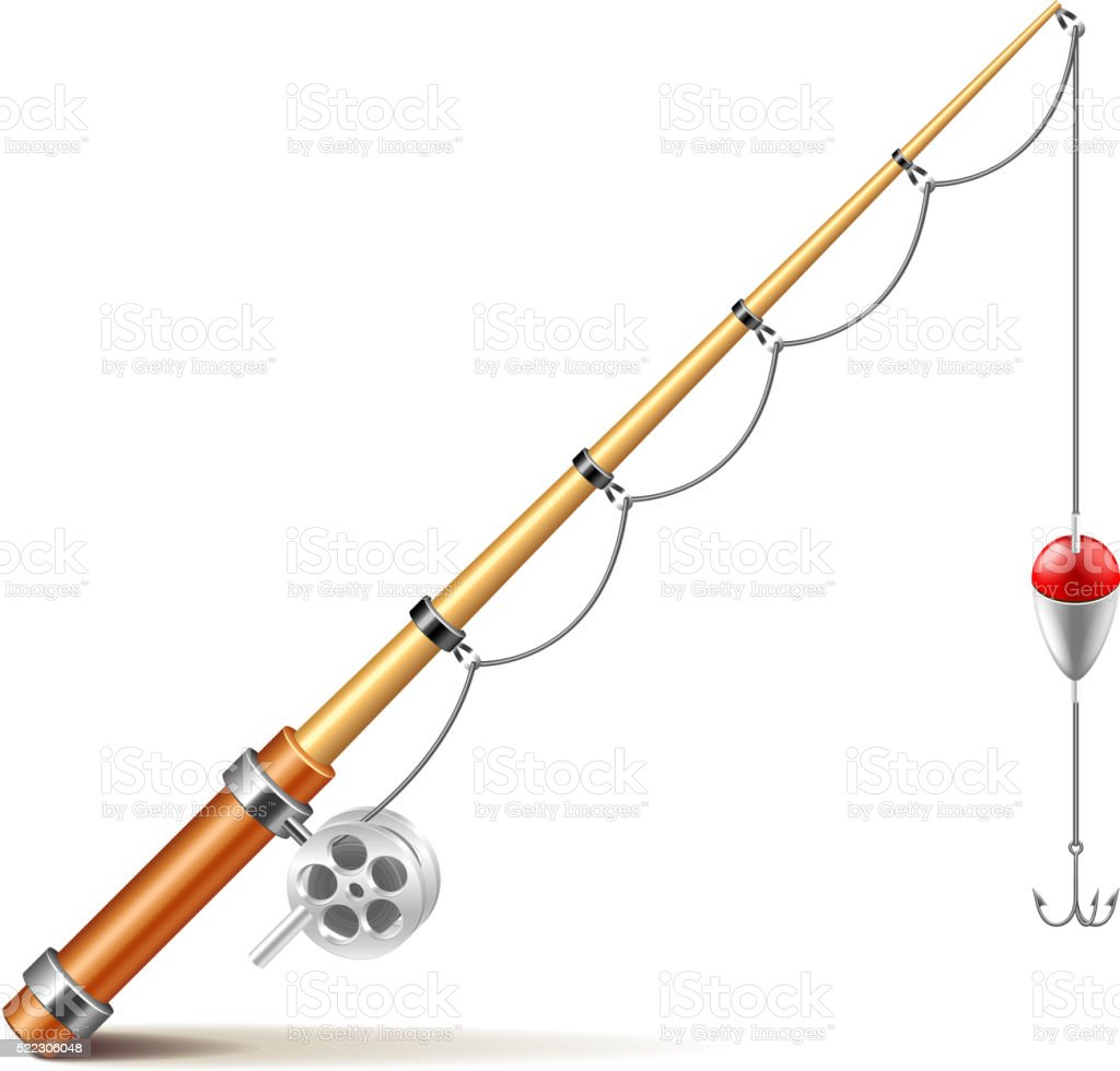 Fishing rod isolated on white vector vector art illustration