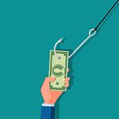 fishing rod phishing money cash with hand. Vector illustration eps