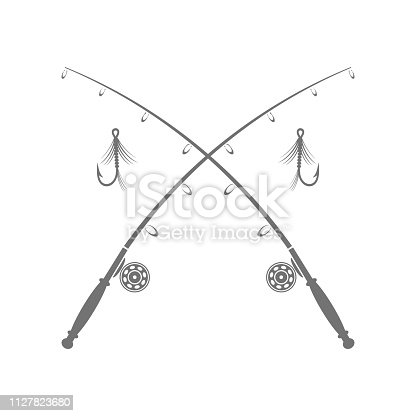 Fishing Rod Silhouette with Fishing Hook Isolated on White Background
