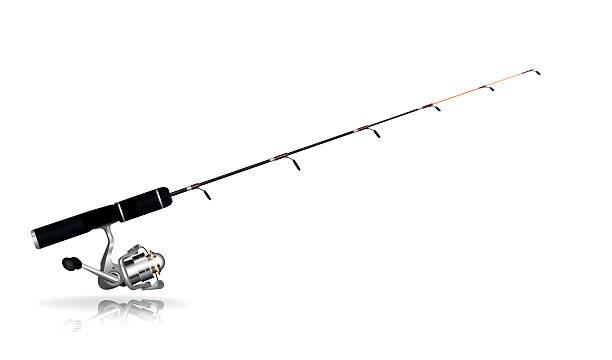 Fishing rod Isolated fishing rod on a white background fishing reel stock illustrations