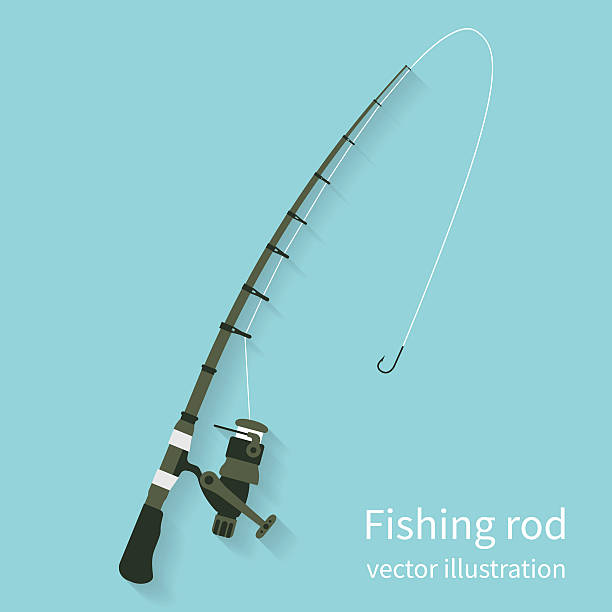 Fishing rod, vector Fishing rod, vector illustration flat design style. Fishing equipment. Rod spinning isolate on background with shadow. Icon rods. fishing line stock illustrations