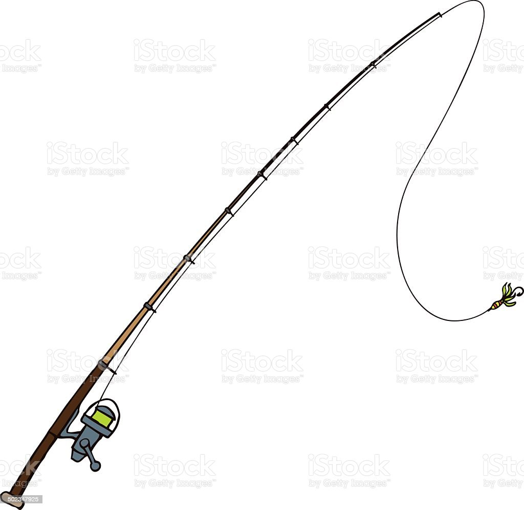 Fishing rod with fly bait. Vector illustration. Isolated on white vector art illustration