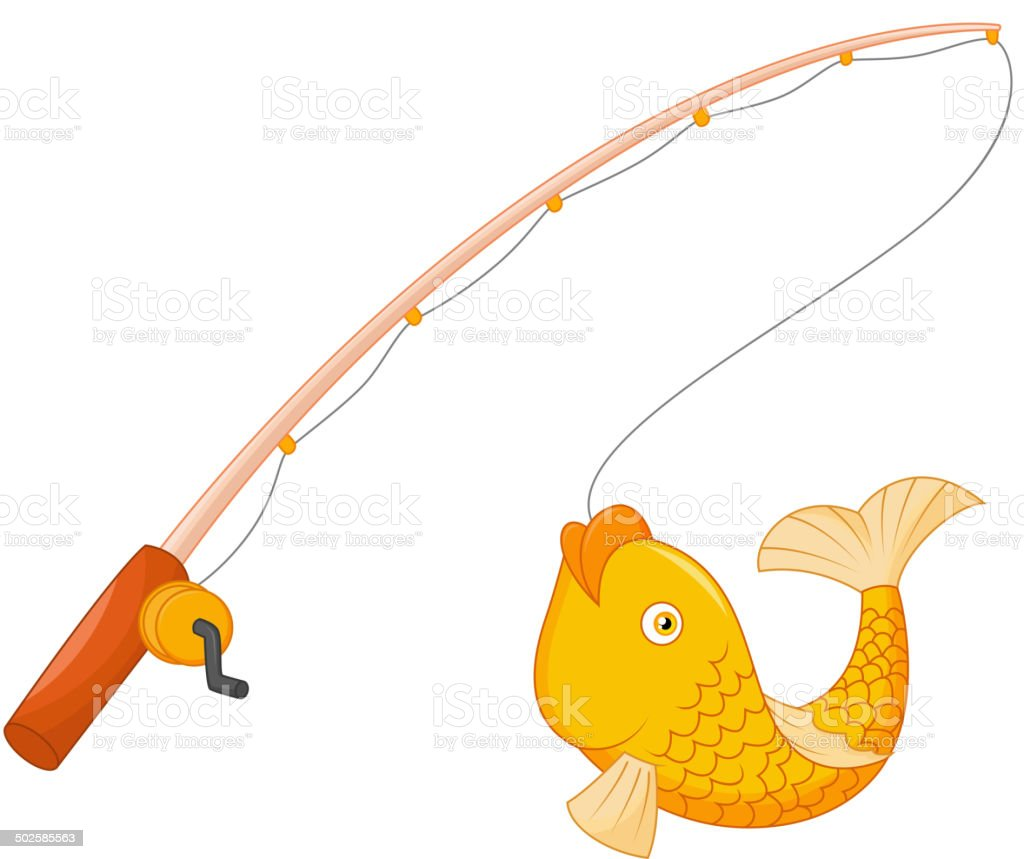 Fishing rod with hook and fish vector art illustration