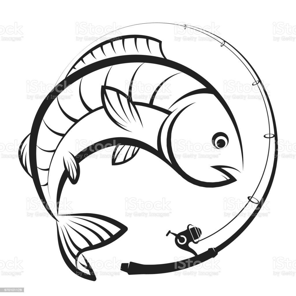 Ilustración de Caña De Pescar Con Carrete Y Pescado y más banco de ...