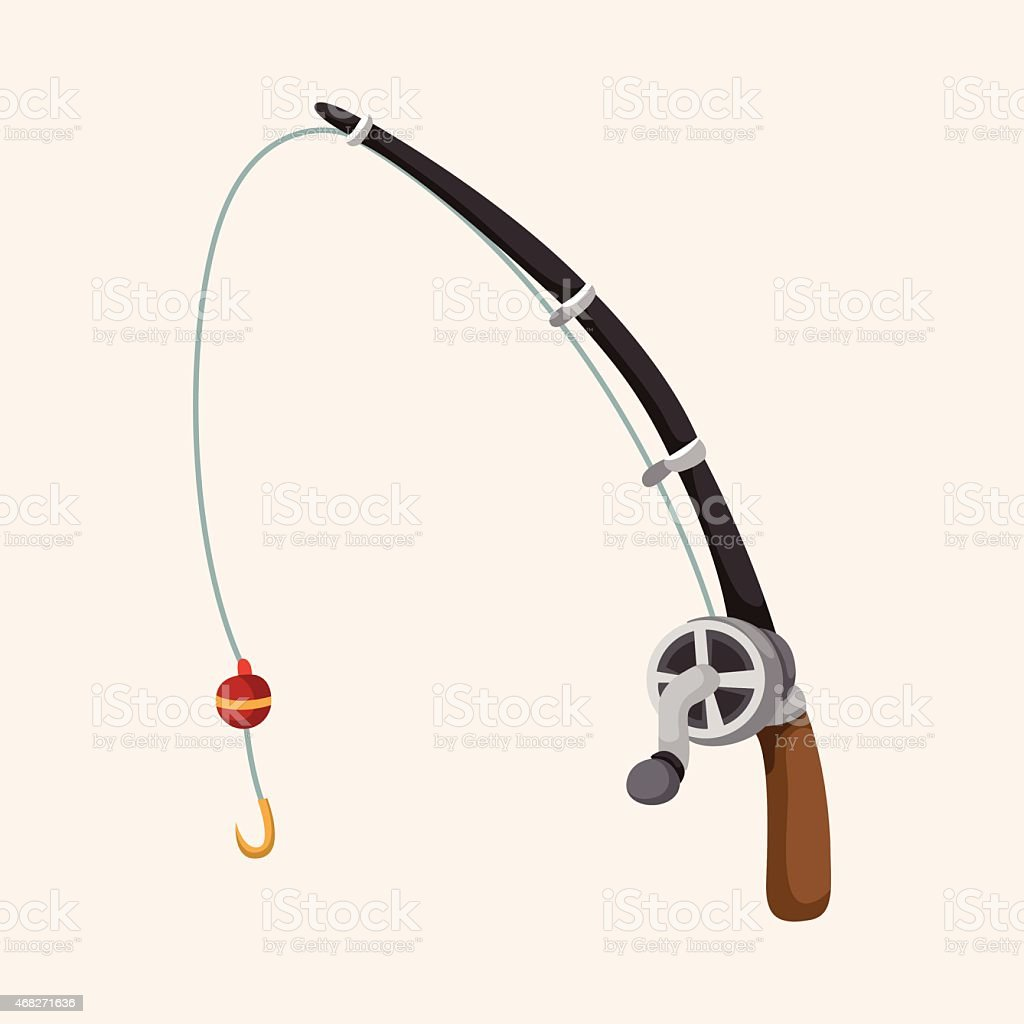 Fishing rods theme elements vector art illustration