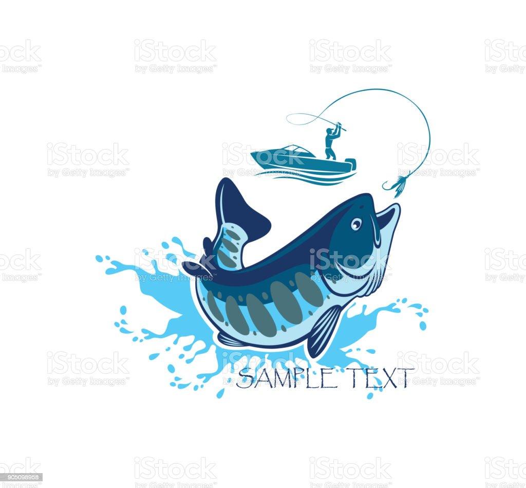 fishing salmon vector art illustration