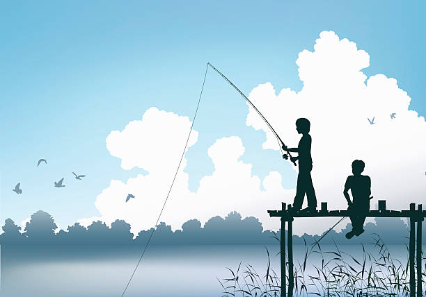 Fishing scene Editable vector scene of two boys fishing from a wooden jetty lakeshore stock illustrations