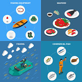 Fishing isometric concept icons set with commercial fish symbols isolated vector illustration