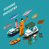 Fishing isometric concept with fishing industry symbols on blue background vector illustration