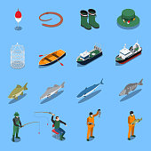 Fishing isometric icons set with boats and equipment symbols isolated vector illustration