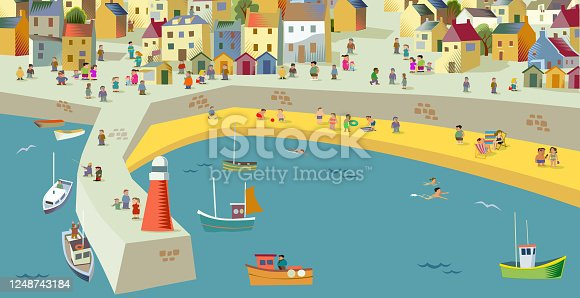 Coastal scene drawn in a fun, whimsical, characture or cartoon style, Social Distancing, Covid-19, pandemic,