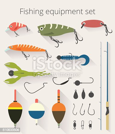 Fishing set of accessories for spinning fishing with crankbait lures and twisters and soft plastic bait fishing float.