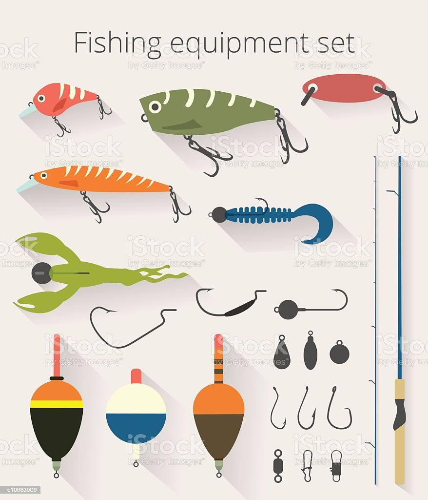 Fishing set accessories for spinning and bait float vector art illustration