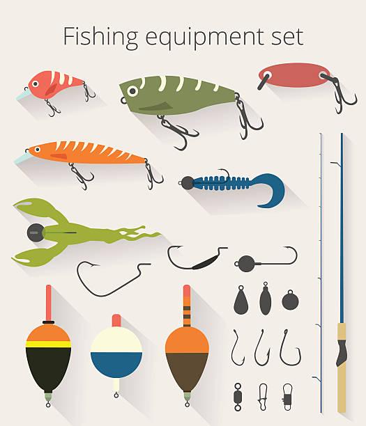 angeln mit accessoires für spinnerei und köder schwimmen - angelhaken stock-grafiken, -clipart, -cartoons und -symbole