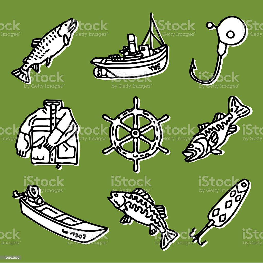 fishing set royalty-free stock vector art