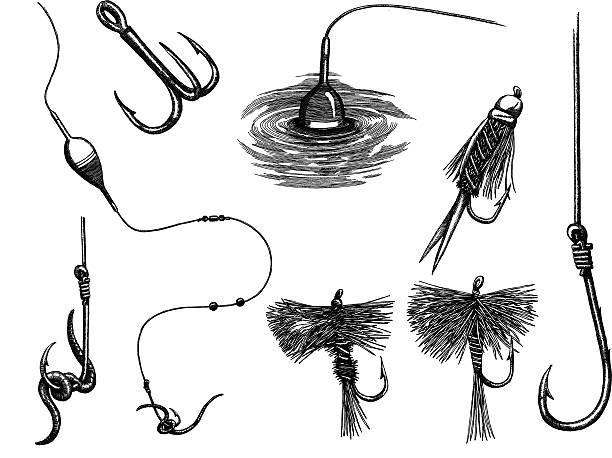 angeln set - angelhaken stock-grafiken, -clipart, -cartoons und -symbole