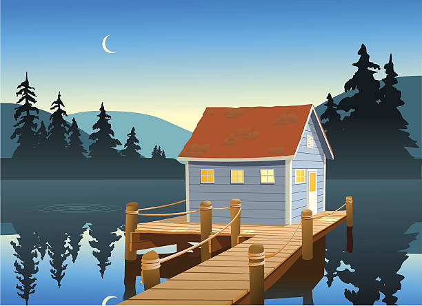 Fishing Shack vector art illustration