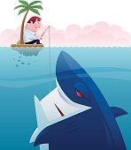 vector illustration of cheerful businessman fishing shark…